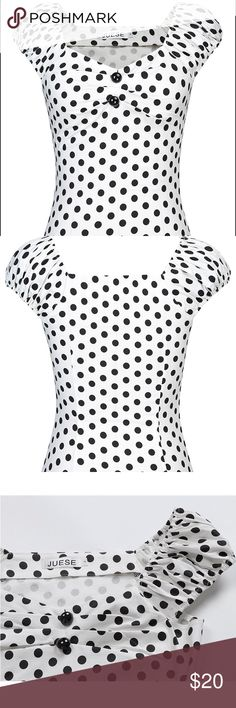 1950's style sweetheart top Vintage style, polka dot cute puffy sleeves which can be worn off the shoulder and pleats at the bust. Only worn once and then dry cleaned! Juese Tops Tees - Short Sleeve