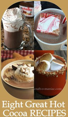 Craft-O-Maniac: Eight Great Hot Cocoa Recipes .I'm obsessedd with not chocolate Hot Cocoa Recipe, Cocoa Recipes, Hot Chocolate Bars, Hot Chocolate Recipes, Yummy Treats, Sweet Treats, Yummy Food, Christmas Treats, Christmas Time