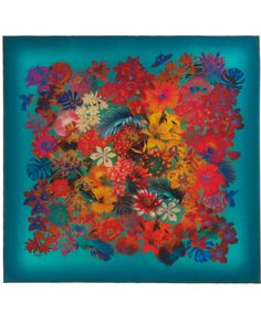 TURQUOISE EXOTIC FLOWERS PRINT SILK SCARF, LIBERTY LONDON