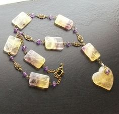Lemon DropFluorite heart gemstone necklace with by HrtsofStone, $90.00 - Oh my...so, so pretty!!
