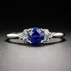 .65 Carat Sapphire & Diamond Ring - Vintage Gemstone Engagement Rings - Vintage Engagement Rings
