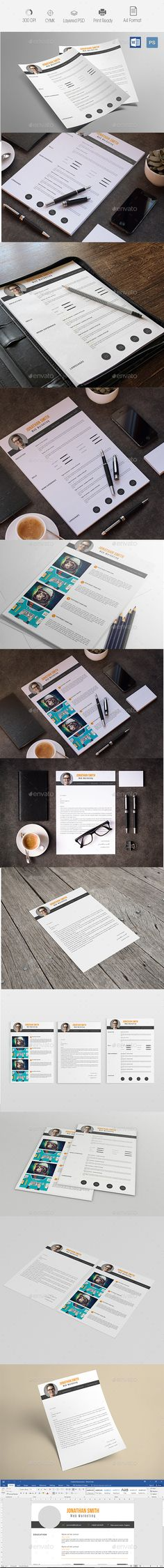 Creative Resume & Cover Letter — Photoshop PSD #resume templates #cv template • Available here → https://graphicriver.net/item/creative-resume-cover-letter-/14547990?ref=pxcr