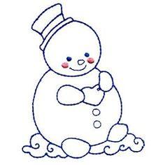 Chubby Snowmen Bluework Set, 10 Designs - 5x7 | Winter | Machine Embroidery Designs | SWAKembroidery.com Mimi's Sewing Studio