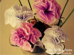 Flores com forminhas de Cupcakes