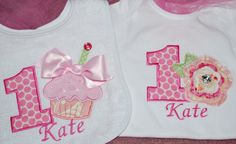 1st Birthday Shirt and Bib Set Shabby Chic by lollipopprincess, $48.00