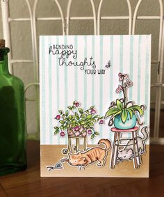 Anita Jeram, Card Companies, Cat Cards, Happy Thoughts, Card Making, Reusable Tote Bags, Crafts, Colorado, Stamping