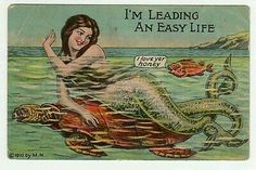 1910 Mermaid & Sea Turtle Postcard**
