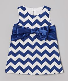 Look what I found on #zulily! Caught Ya Lookin' Navy Zigzag Satin Bow Shift Dress - Infant, Toddler & Girls by Caught Ya Lookin' #zulilyfinds