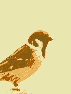 #art #prints #bird #sparrow #screenprint