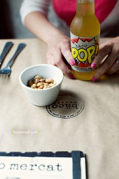 Love the design for POP! Bäco Pop is an orange ginger juniper soda, shown here with house made corn nuts