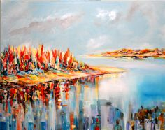 """""""Reflecting hope"""" is an abstractseascape acrylic painting by Niki Katiki"""