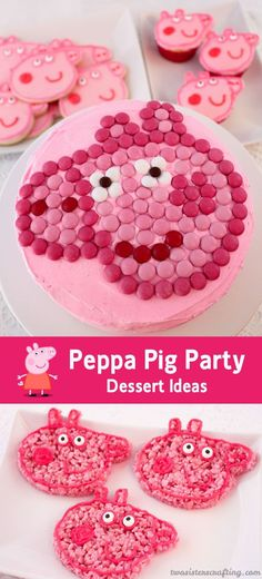 We threw a Peppa Pig Party and have put together our favorite Peppa Pig Party Dessert Ideas - all of them cute, delicious and easy to make. Pig Cupcakes, Pig Cookies, Cupcake Cakes, Sugar Cookies, Peppa Pig Cookie Cutter, Pig Birthday, Birthday Ideas, Birthday Cakes, Sugar Cookie Frosting