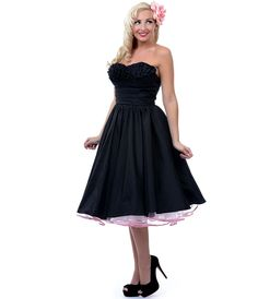 Unique Vintage Going Steady Black Taffeta Strapless Party Dress
