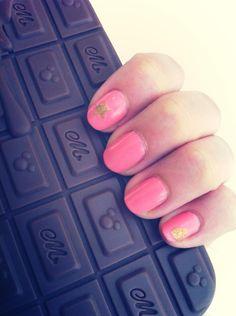 Pink; Gold; Star; Crown; Nail Art