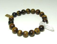 Tiger Eye and Quartz Stretch Men's Bracelet by HausofTopper, $40.00