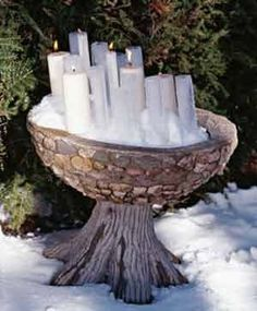 candlemas festival garden decorations For those of you brave enough to celebrate outside - an idea for a snow candle outside altar! Fire Festival, Festival Lights, Yule, Tarot, Candle Magic, Moon Garden, Sabbats, Groundhog Day, Spring Sign