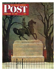 Statue Of Washington On His Horse by John Atherton, Feb. 22, 1947, Saturday Evening Post.