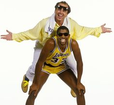 Jack Nicholson, a devoted Lakers fan for decades, jumps on the back of Magic Johnson in 1986. (Brian Lanker/SI)