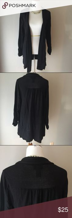 Lane Bryant Long Cardigan Long black cardigan with ruched sleeves. In great condition. 100% cotton size 14/16 Lane Bryant Sweaters Cardigans