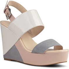 Nine West Dreamz Wedge Sandals ($70) ❤ liked on Polyvore featuring shoes, sandals, off white multi synthetic, wedge sandals, vintage sandals, nine west shoes, open toe platform sandals and vintage platform sandals
