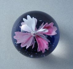 Art Glass Paperweight - Purple Flower Spheres / Marbles More @ FOSTERGINGER At Pinterest