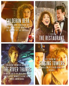 The Doctor + River Song. 'I do not sneak out at night to parties with River Song! Alex Kingston, Doctor Who Quotes, Hello Sweetie, Don't Blink, Eleventh Doctor, Matt Smith, David Tennant, Dr Who, Superwholock