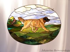 Stained glass Leonberger on nature background http://kolibriart.jimdo.com/english/dogs-cats/leonberger-on-nature-background-oval/