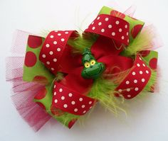 Christmas Girls Handmade Boutique Hair Bow