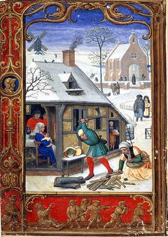 Medieval winter scene: Tobogganing in 'The Golf Book', British Library MS Addition Medieval Books, Medieval Life, Medieval Manuscript, Medieval Art, Illuminated Manuscript, Illuminated Letters, British Library, Golf Books, Renaissance Kunst