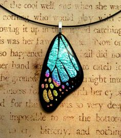 Butterfly Wing Fused Glass Pendant Blue Pink by fusedelegance, $30.00