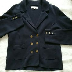 Loft navy blue blazer Worn maybe twice. Still debating on letting it go. 100% cotton for ultimate comfort. Heavy weight for warmth. Trendy navy blue with brass buttons. Perfect with riding boots! LOFT Jackets & Coats Blazers