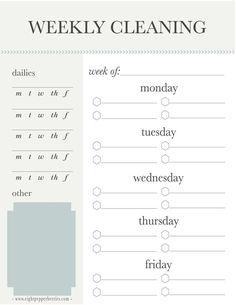 Weekly Cleaning Schedule (Free Printable) >> Eight Pepperberries