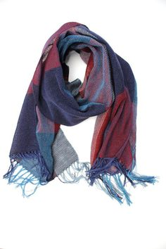 Red and blue woven cotton plaid scarf