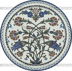 Round oriental flower ornament - vector clipart