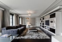 LOVE this contemporary black and white room in Celine Dion's French mansion.