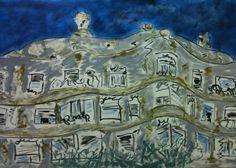Cuadro sobre la pedrera en Barcelona€ pintura sobre Gaudi Barcelona spain# Pinturas sobre Barcelona# pinturas murales#