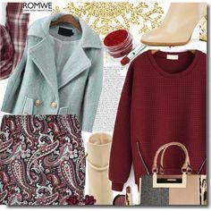 Romwe Zipper Red Sweatshirt by prigaut on Polyvore featuring Burberry, River Island, Sole Society, Bobbi Brown Cosmetics, Becca, romwe and ZipperRedSweatshirt