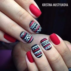 Nail art with matte nails. End your nail polish with a matte lacquer. Gorgeous Nails, Love Nails, Fun Nails, Christmas Nail Art Designs, Christmas Nails, Red Christmas, Simple Christmas, Nail Art Vernis, Nagellack Design