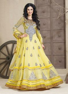 I like the design not the color of this full length anarkali dress