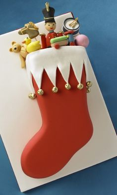 . Christmas stocking cake