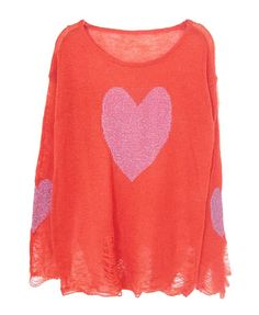 Hearts Printed Holes Sto Perspective Pullover