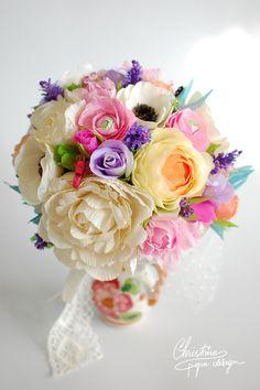 DIY paper flowers alternative bridal bouquet.