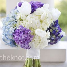 Purple Wedding Bouquet: Tulips and hydrangeas I would love to have this with a more Tulip and daisies coordination, with little bits of extra things in it, possibly a nice carrier