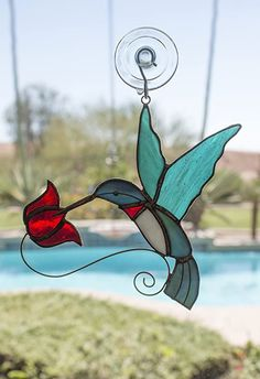 """Love this """"Love Hummingbirds?  We do too :) You'll love this Glass Bee Stained Glass Ornaments, Stained Glass Birds, Faux Stained Glass, Stained Glass Lamps, Stained Glass Projects, Stained Glass Patterns, Clear Ornaments, Snowman Ornaments, Christmas Ornament"""