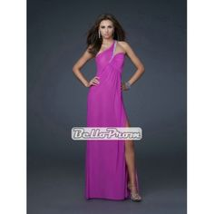 Column Chiffon One Shoulder with beads and slit Long Prom Dress PD34034 at belloprom.com