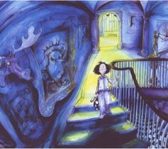 A drawing of a dark room in a children's book