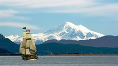 Mount Baker and Sidney Island Are a Backdrop to the Tall Ship Lady Washington Sailing Off Saanich Peninsula on Vancouver Island, British Columbia, Canada