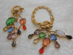 SCHIAPARELLI Signed Magnificent Vintage Dangling Jewels Bracelet & Brooch Set! #Schiaparelli
