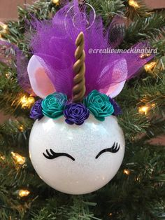 Best 12 Unicorns are all the rage right now! This adorable handmade unicorn ornament would make a wonderful addition to anyones tree this year. Adorned with a golden horn, hand rolled flowers, and flowing unicorn hair. Unicorn Christmas Ornament, Unicorn Ornaments, Christmas Ornament Crafts, Personalized Christmas Ornaments, Diy Christmas Gifts, Christmas Projects, Holiday Ornaments, Handmade Christmas, Holiday Crafts