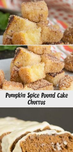 Pumpkin Spice Pound Cake Churros have the same soft, moist cake as a petit four with that wonderful sugary spicy crunchy outside. Pumpkin Pecan Pie, Pumpkin Recipes, Pumpkin Spice, Homemade Pound Cake, Homemade Cakes, Churro Cheesecake, Cheesecake Recipes, Whipping Cream Pound Cake, Moist Cakes